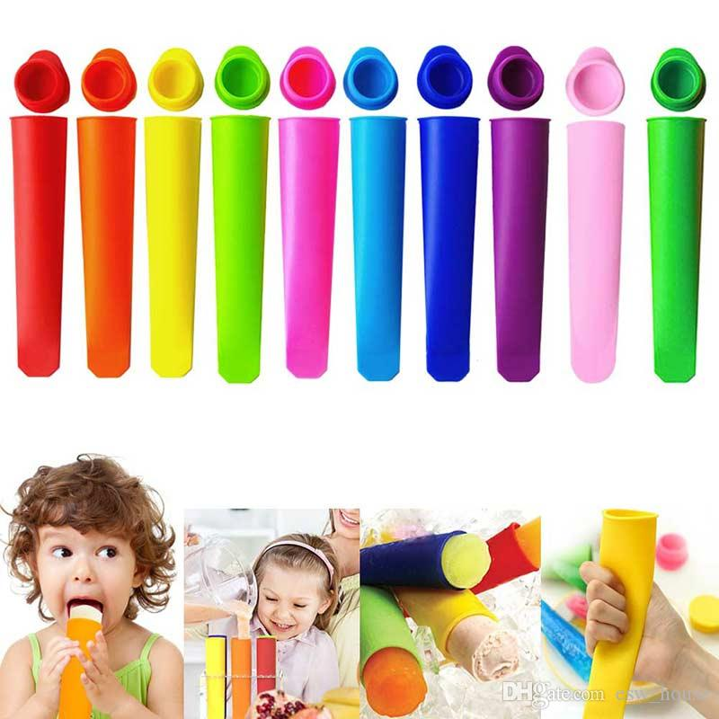 Colorful Silicone Ice Pop Mold Set,Popsicles Mould with Lid DIY Ice Cream Makers Push Up Ice Cream Jelly Lolly Pop For Popsicle 6pcs