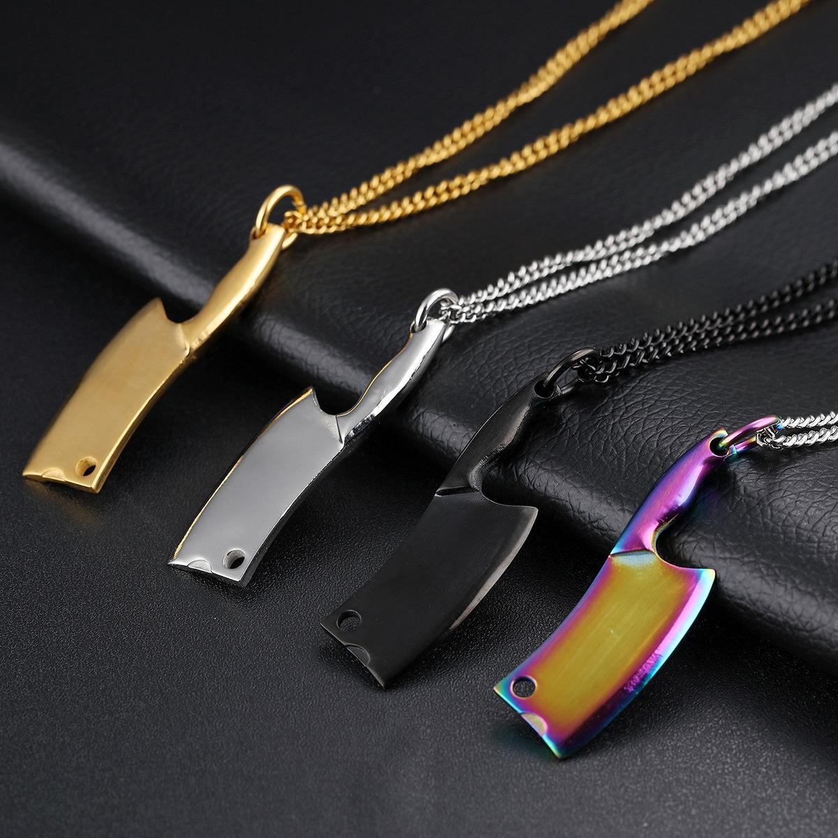 4 Colors Stainless Steel Kitchen Knife Pendant Necklace - Mens Necklaces Hip Hop Jewelry - Fashion Designer Necklace Punk Rock Gift