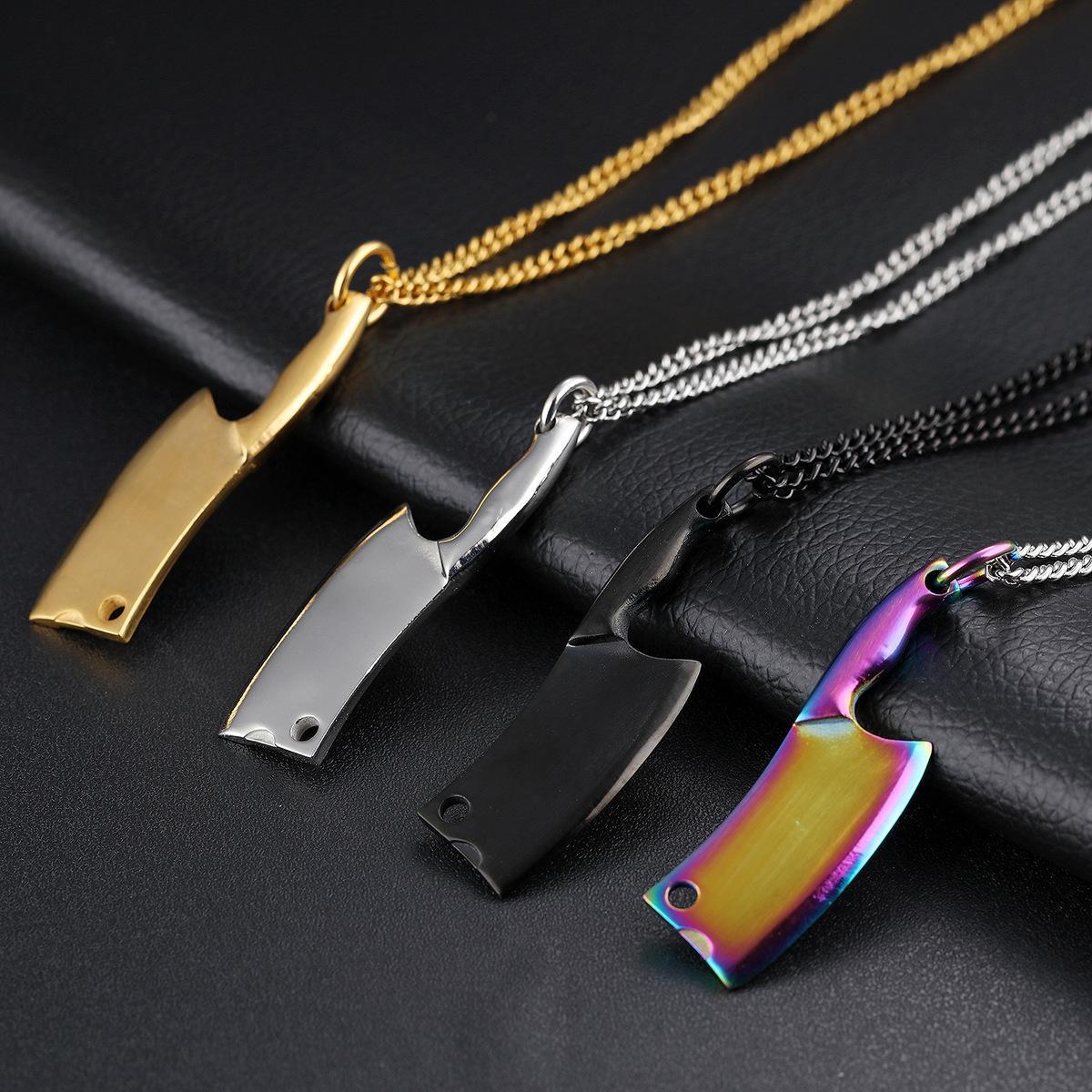 4 cores aço inoxidável faca de cozinha pingente de colar - Mens colares Hip Hop jóias - Designer de moda colar de presente de punk rock