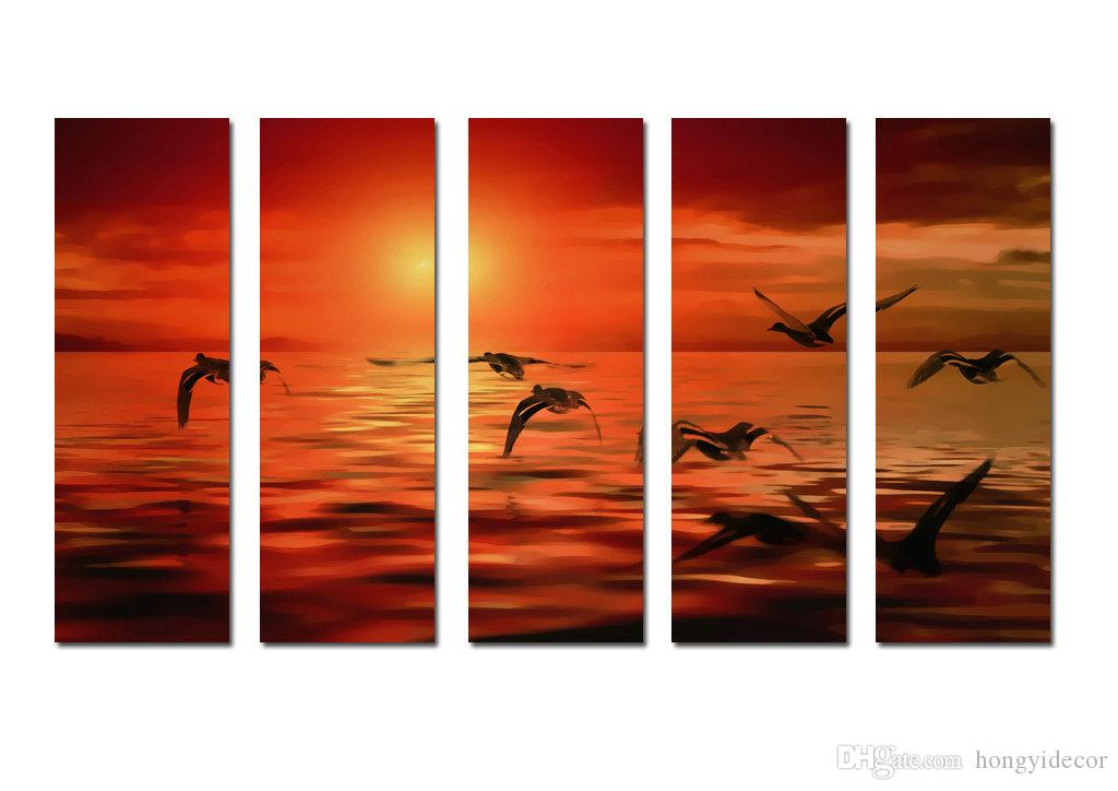 Large Hot Modern Contemporary Canvas Wall Art Print Painting Sea Sunset Landscape Seascape 5 Pieces picture Living Room Home Decor Aset291