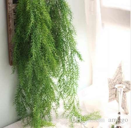 Plantes artificielles longues aiguilles de pin doux imitation vigne rotin maison décoration murale décorative