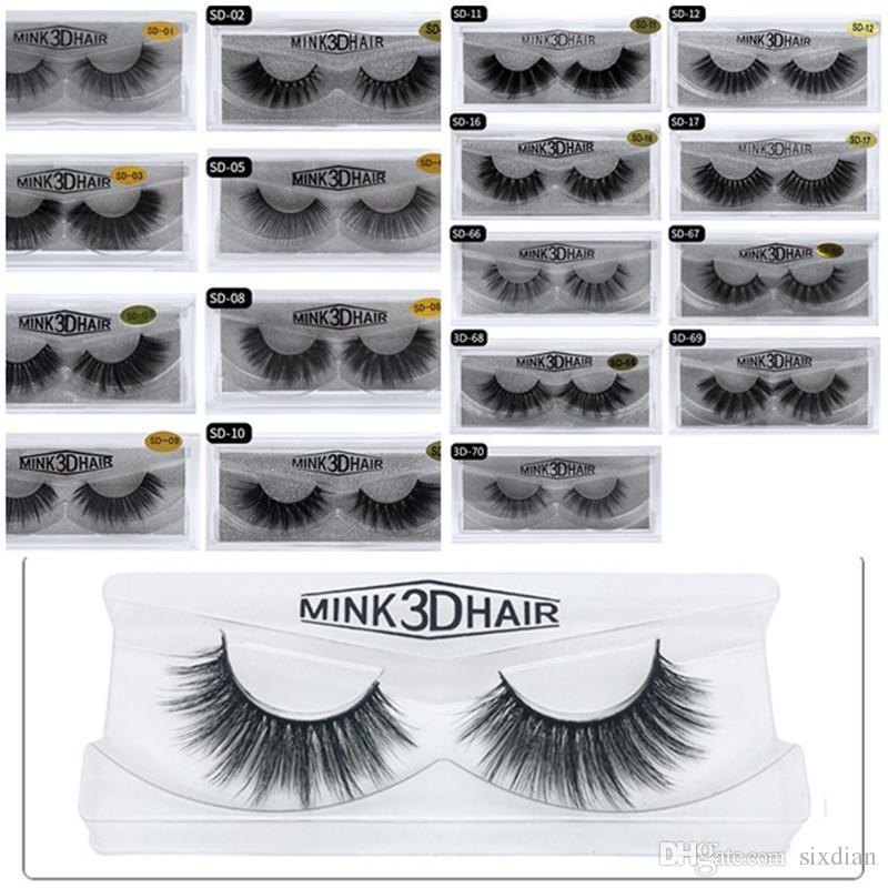 Im Lager 3D Mink Wimpern Make-up falschen Wimpern Natürliche Gefälschte Lashes 3D Wimper-Verlängerungs-Schönheits-Werkzeuge 20 Arten 24-Stunden-DHL-Verschiffen Freies