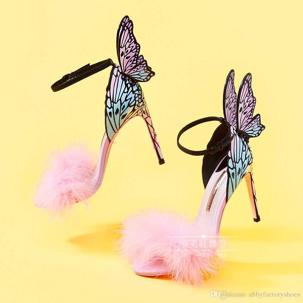Sophia Webster Sommer Winged Butterfly Party Thin Hochhackige Sandalen 2018 Rosa Fell Female Wedding Sandalen Multi Color Kleid Prom Sandalen