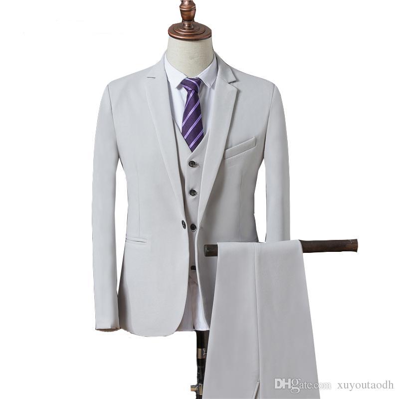 Men Suits 2018 White Black Wedding Suits Custom Made Handsome Slim Fit Bridegroom Groomsmen Best Men Blazer Formal Tuxedos Prom Party 3Piece