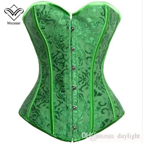 Wechery Sexy Waist Trainer Corset Corsage Brocade Royal Wedding Jacquard Corsets and Bustiers for Women Modeling Strap Corselet