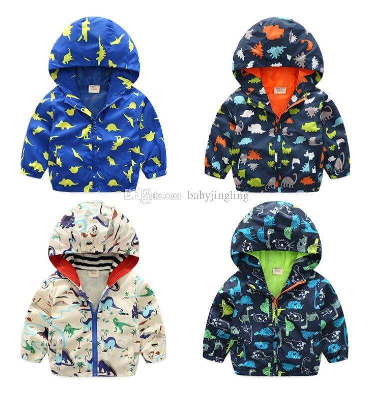 2019 ilkbahar sonbahar sevimli dinozor çocuk ceket çocuklar ceket erkek giyim mont aktif erkek rüzgarlık bebek giyim giyim