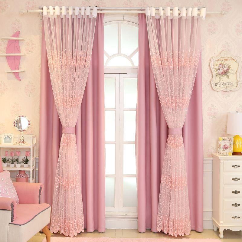 rosa Vorhang Princess Wind Fantasy Girl Schlafzimmer Kinderzimmer koreanischen Stil Frische Hochzeit Zimmer Doppel Blackout Curtain