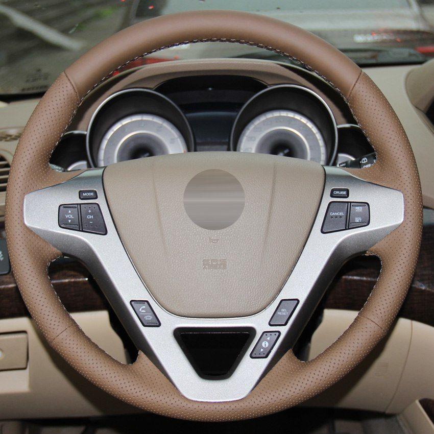 Темно-коричневый натуральная кожа ручной работы автомобиля рулевое колесо Крышка для Acura MDX 2009-2012