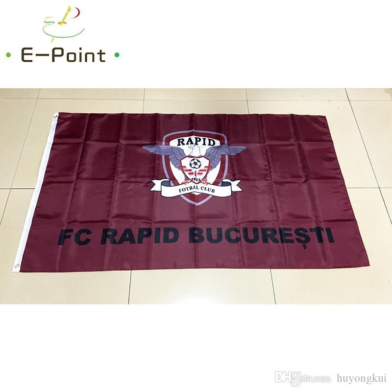 Romanya bayrağı FC Rapid Bucuresti 3 * 5ft (90 cm * 150 cm) Polyester bayrak Afiş dekorasyon uçan ev bahçe bayrağı Şenlikli hediyeler