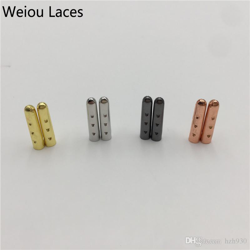 Weiou 3*17mm Gold Silver Gun Black Rose Gold Open Mouth Metal Tips 4pcs/1set Bullet Aglets For Sneakers Shoelaces