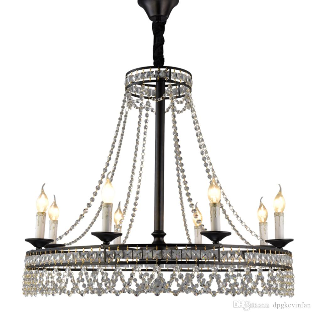 Luxury Vintage Modern Design Black E14 Led K9 Crystal Large Chandelier Lighting Fixtures for Loft Home Staircase Living Room Bedroom Lamp