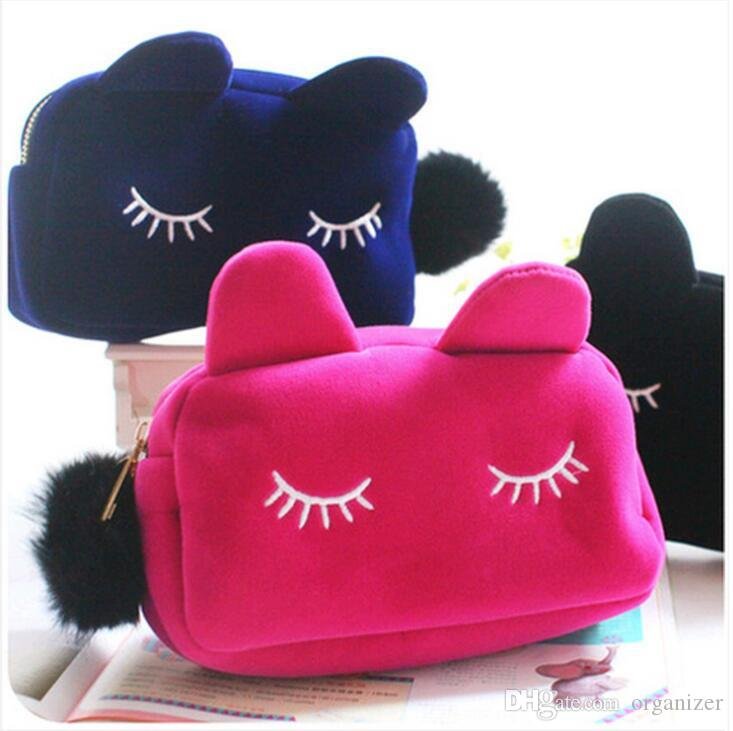 Custom Logo Cute Portable Cartoon Cat Coin Storage Case Travel Makeup Flannel Pouch Cosmetic Bag Korean and Japan Style free shipping