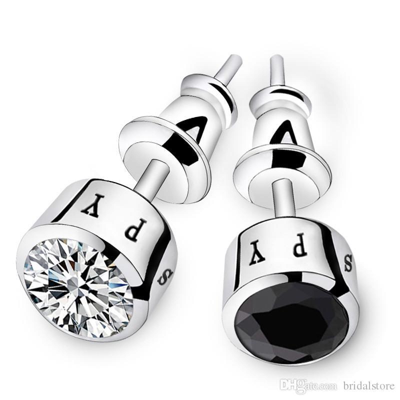Fashion mens earrings for groom 925 sterling silver crystal groom accessories men ear studs for groomsman wedding gifts black silver