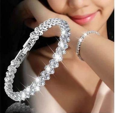 Moda Feminina Elegante Pulseira Pulseiras Encantos De Cristal Da Noiva Jóias De Casamento Presente Do Amor Branco Da Cor De Ouro