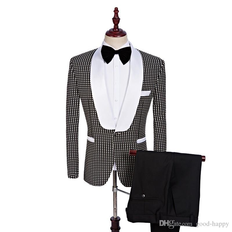 Czarny Biały Dot Groom Tuxedos Szal Kapel Center Vent Men Wedding Blazer Mężczyźni Dinner Prom Business Suit Dostosuj (Kurtka + Spodnie + Krawat) 1156