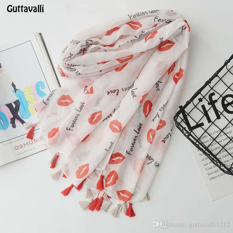 Guttavalli Women Lips Print Long Tassels Shawl Vintage Summer Female Cotton Skinny Scarf Bohemia Love Letters Chevron Scarves