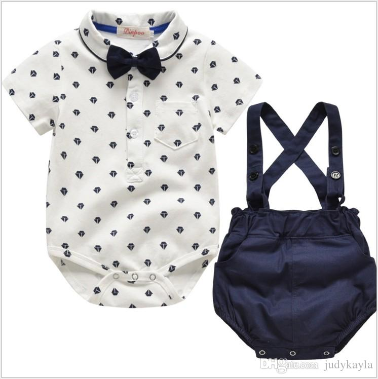 Summer Gentleman Style Baby Boys Clothing Sets Rompers+Suspender Shorts+Bowtie 3pcs Set Toddler Suits Infant Outfits Kids Clothes 8sets/lot