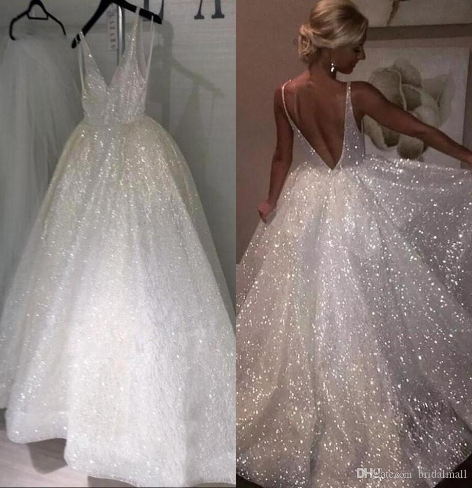 Sparkle Sequined White Long Wedding Dresses 2019 Deep V Neck Sexy Low Back Bridal Dresses Cheap Pageant Special Occasion Gowns For Weddings