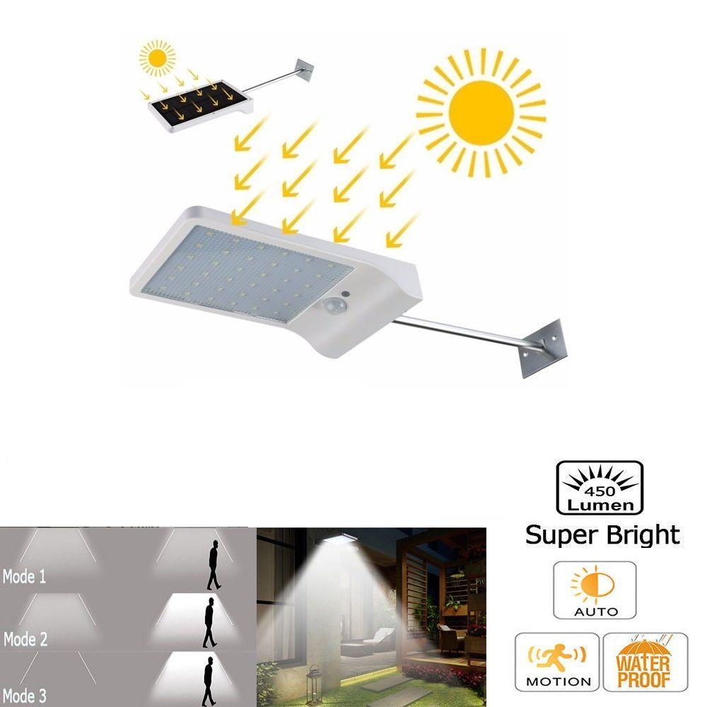 PIR 모션 센서 LED 벽 램프 태양 광 전원 야외 야간 조명 거리의 정원 문 경로 마당 경로 담장 안뜰 보안 전구