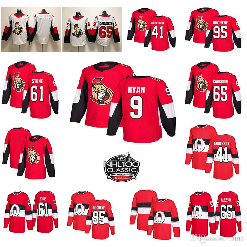 오타와 상원 의원 새 망 100th Classic 65 Erik Karlsson 95 Matt Duchene 61 Mark Stone 41 Anderson Hockey Jerseys Stiched