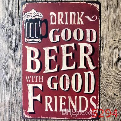 Vintage Bar decorazione murale poster in metallo stampa artigianato decorazione Segni pub pittura retrò Bere birra buona con buoni amici
