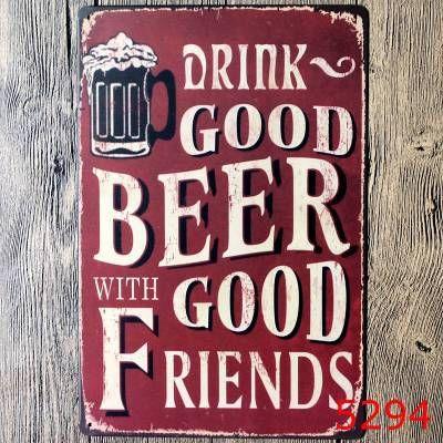 Vintage Bar décoration murale affiches en métal impression artisanat décoration Pub signe peinture rétro boisson bonne bière avec de bons amis