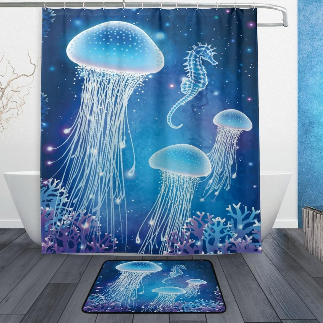 2019 Ocean Sea Creature Shower Curtain And Mat Set Magic Glowing Jellyfish Seahorse Underwater World Waterproof Fabric From Miniatur 26 17
