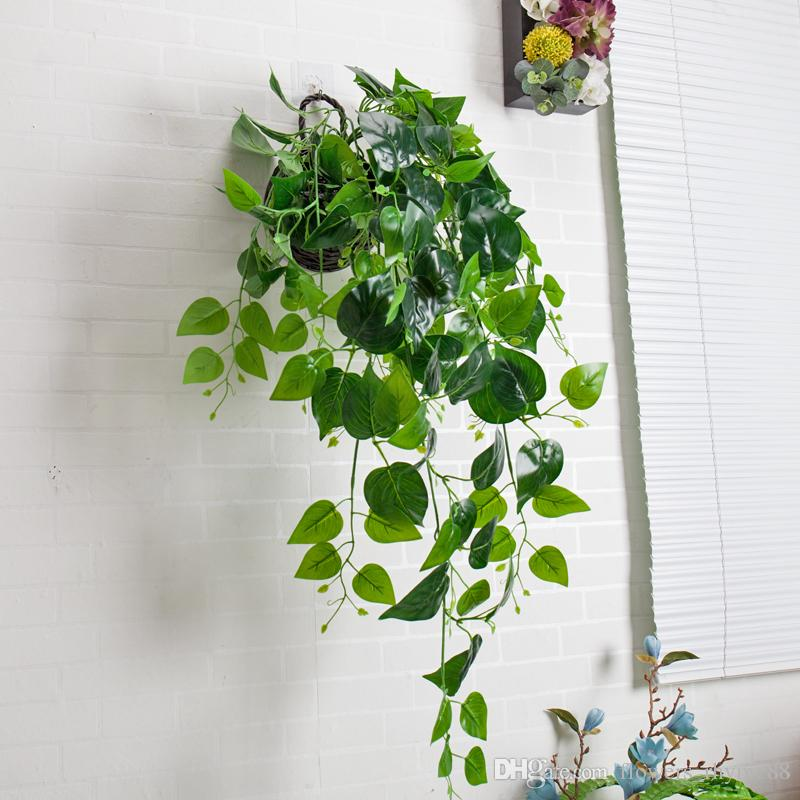 Decoração de casamento em casa Plantas Verdes Folha de Hera Guirlanda De Plástico Videira flores artificiais Falso Folhagem parede Pendurado látex verde plantas Vine Suprimentos