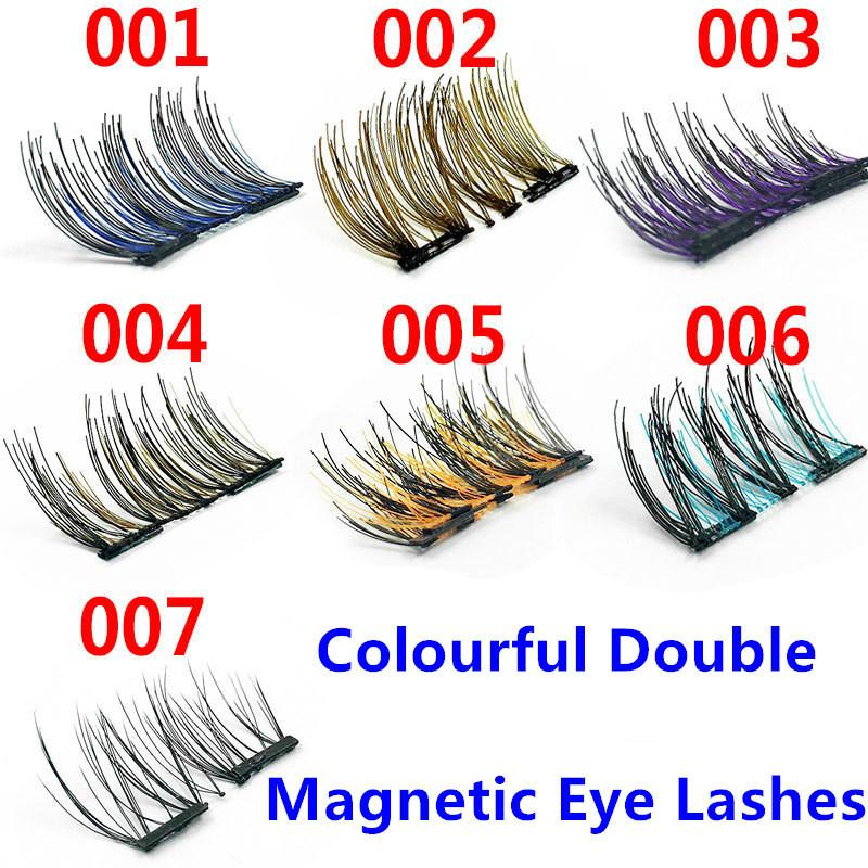 Best quality Colourful Double Magnetic Lashes 3D Mink Reusable Fasle Eyelash Without Glue 4pcs=1pairs epacket free Shipping