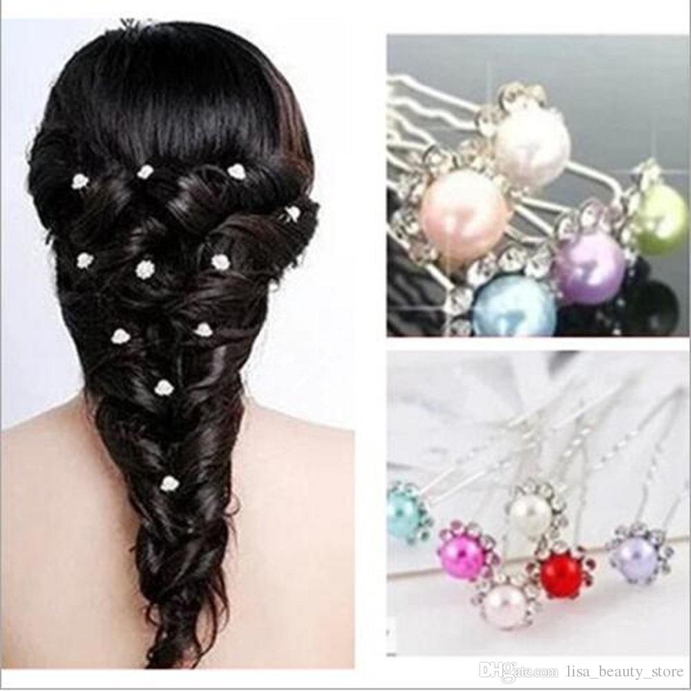 10pcs / lot mariée épingles à cheveux perles strass mariage mariée fleur épingles à cheveux clip poignées femmes dames filles accessoires