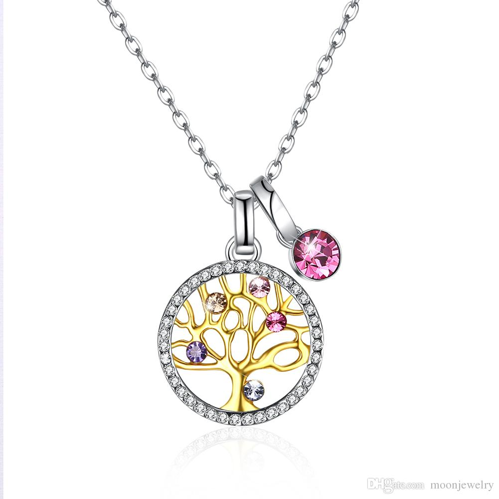high quality Lifetree crystal pendant necklace with swarovski crystal elements S925 sterling silver multiple style necklaces