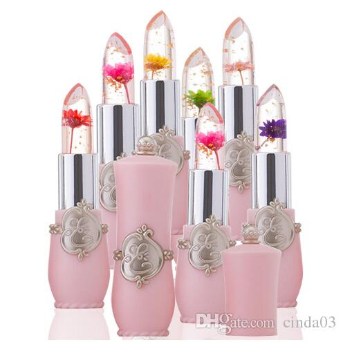 New Lip Stick Jelly Flower Transparent Color Changing Lipstick Long Lasting With 6 Colors Flower Green Lipsticks