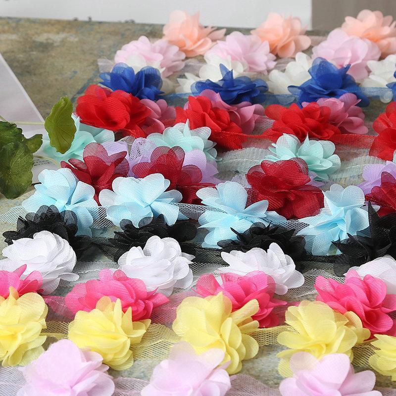 장식 옷을 만들기위한 6cm * 6cm 120pcs / lot 인공 폴리 에스테르 꽃 장식 DIY GiftPart 결혼식 Christmase 꽃 벨트 Riaband