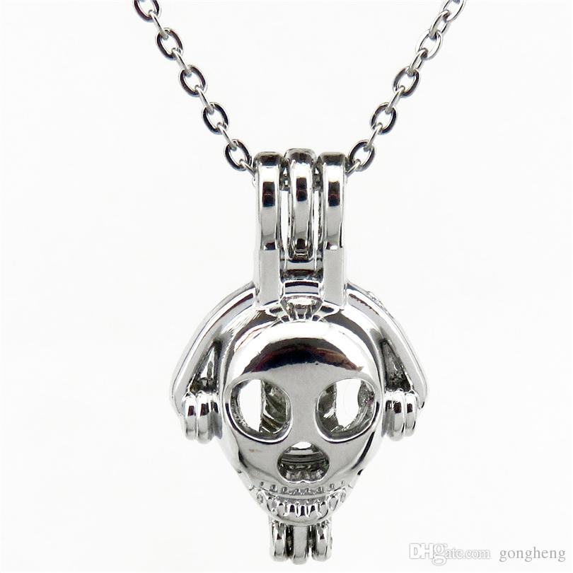 Silver 27mm Headset Robot Hollow Essential Oil Diffuser Locket Women Aromatherapy Beads Pearl Oyster Cage Necklace Pendant-Boutique gift