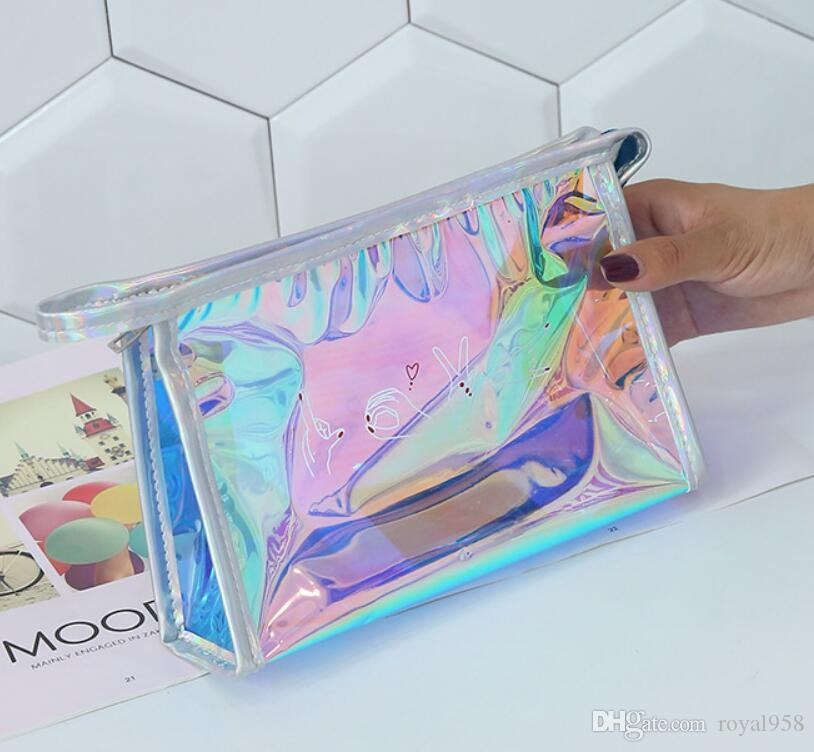 شحن مجاني جديد وصول الليزر حقيبة الإناث شخصية خلاقة حقيبة الشباب الأزياء حقيبة ماكياج حقيبة يد للماء حقائب التجميل
