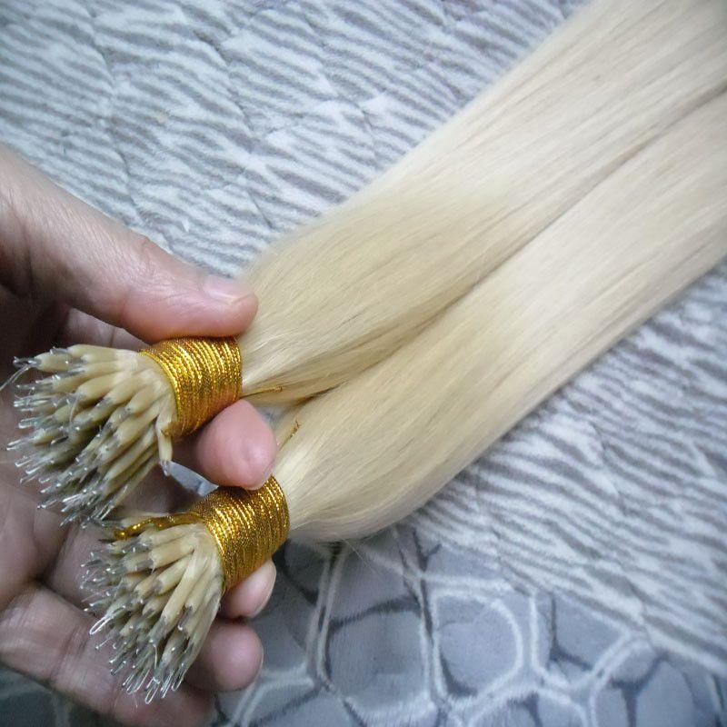100g Remy 100s micro perlas extensiones del cabello humano Europeo 14 colores peruana Virgen de pelo Negro Brown Rubia Piano Nano anillo del pelo