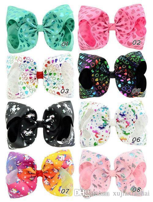 패션 조조 Siwa 활 8 인치 유니콘 인쇄 큰 bowknot 어린이 머리핀 아기 소녀 머리웨어