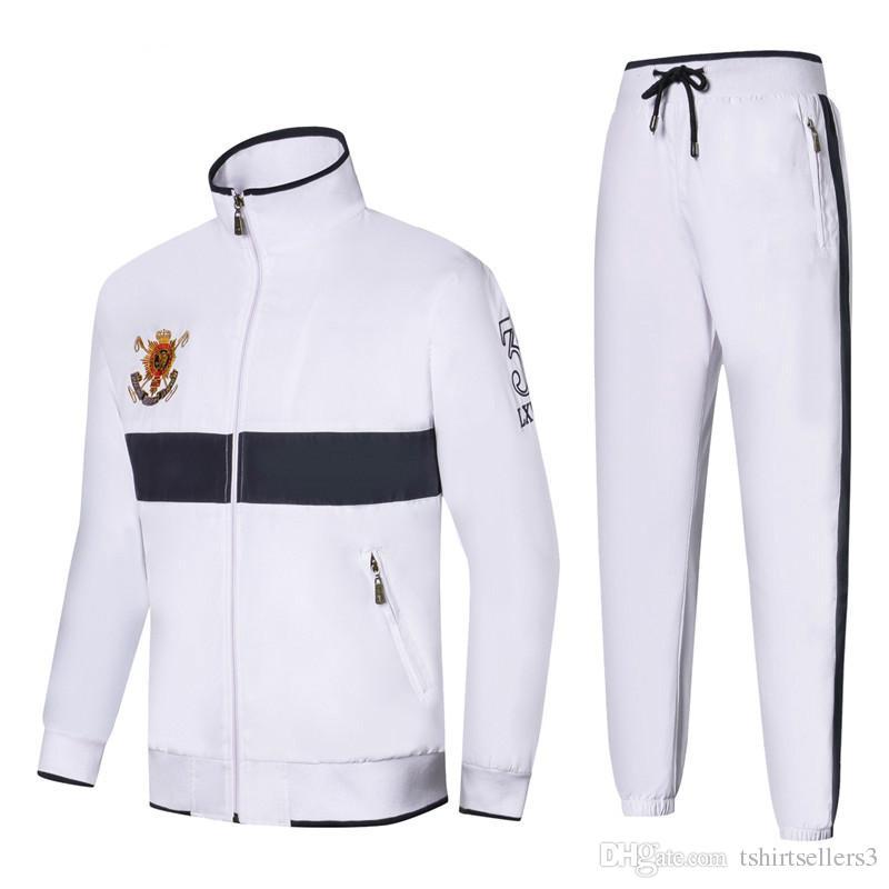 Trasporto libero all'ingrosso! 2018 Nuovo marchio Autunno Inverno Polo da uomo Tute Casual Classic Sportswear Big Horse Felpe Giacche Pantaloni