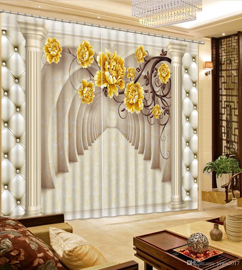 Personalizza foto 3D Tende Colonna romana in stile europeo Soggiorno Camera da letto Finestra oscurante Tenda