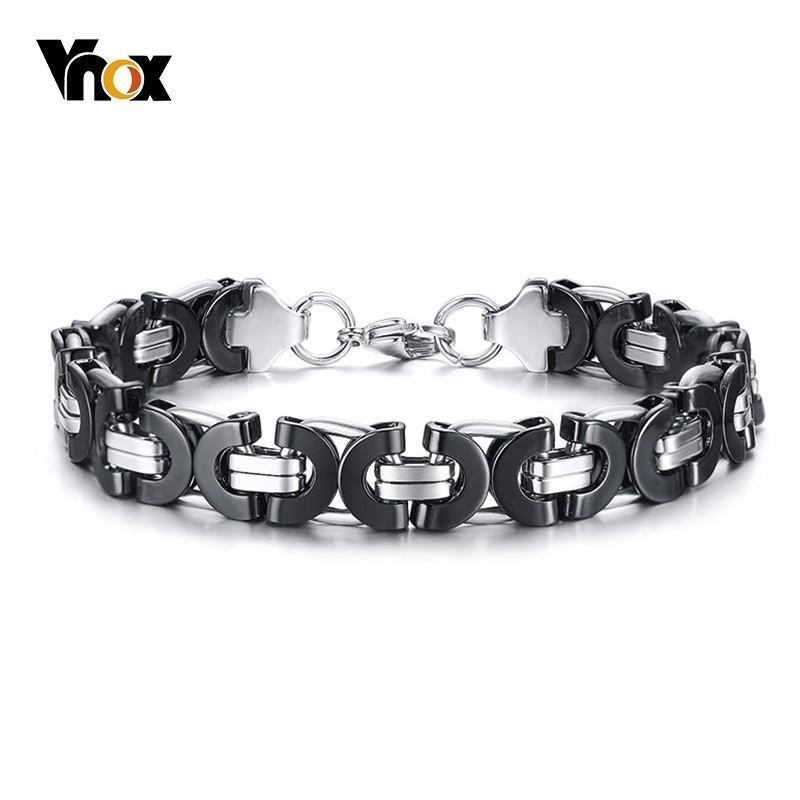 Vnox 11 ملليمتر شقة البيزنطية ربط سلسلة أساور للرجال أسود الفضة المقاوم للصدأ الشرير الصخرة القوطية ذكر سوار مجوهرات