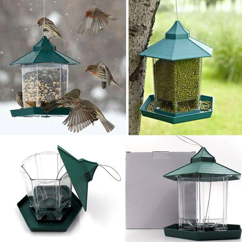 Wild Bird Feeder Plastiknahrungsmittelbehälter Im Freien hängenden Wasserdicht Faulen Menschen Füttern Haustiere Container für Gartendekoration HH7- 1562