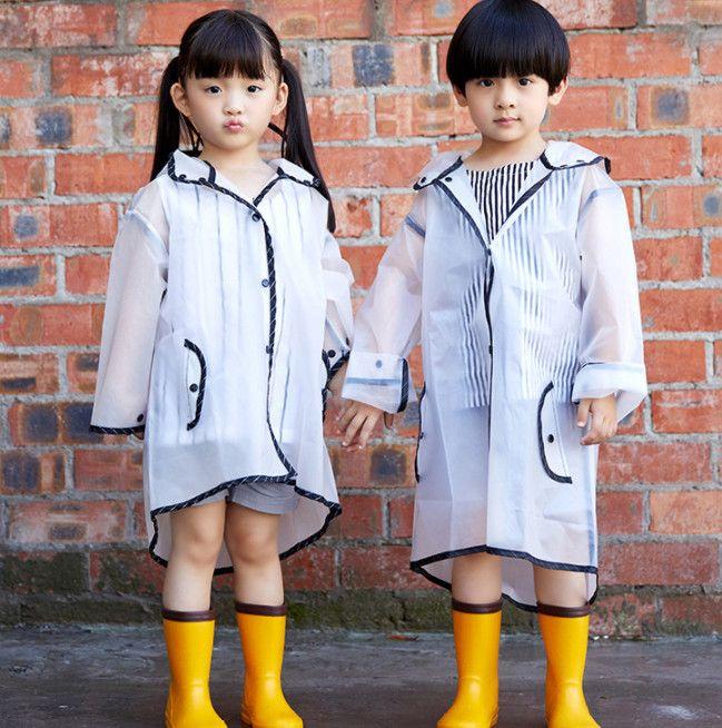 Venta al por mayor estilo caliente Niños lindos elfos con traje de impermeable seersucker para niños y niñas 15 seda EVA impermeable sombrero puntiagudo ala grande
