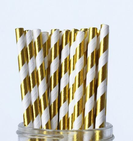 10000pcs Gold Foil Paper Straws,Bridal Shower Decor,Wedding Decor,Baby Shower Decor Cake Pop Sticks Drinking Straws Bulk free shipping