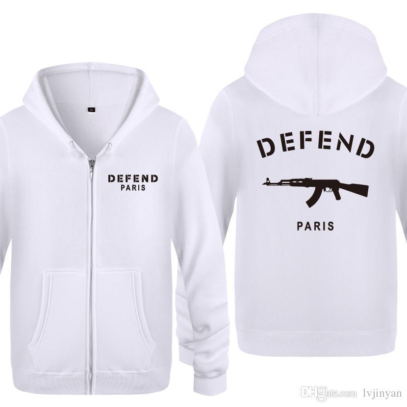 Mens DEFEND Paris Pullover Hoodies Sweatshirts Sports AK47 3D Print Sports Coat