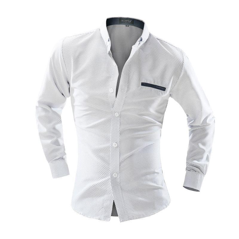 2018 Mode de chemise à manches longues mode chemise hommes dot Slim hommes