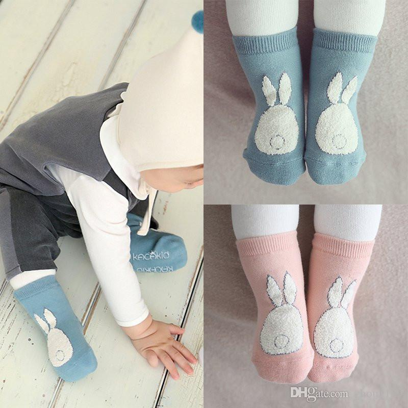 Toddler Kids Socks Girls and Boys Soft Non-slip Socks Fur Bunny Printed Boot Cuffs Baby Socks free shipping 2018 new hot sales wholesale