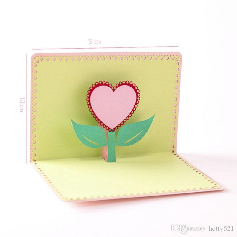 Decoración del partido Greet Cards con el sobre 3D Corazón Invitación del cumpleaños de la boda elegante Gracias Tarjeta envío gratis