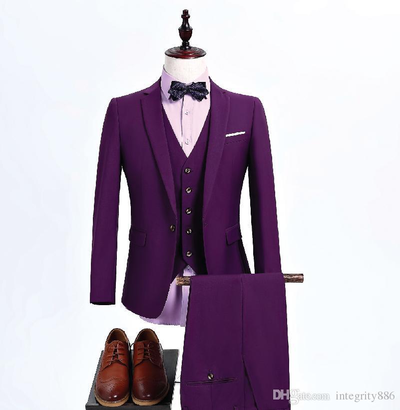 Brand New Hommes Pourpre 3 Pièce Costume De Mariage Tuxedos Marié Tuxedos Notch Revers Un Bouton Hommes Business Prom Blazer (Veste + Pantalon + Cravate + Gilet) 621