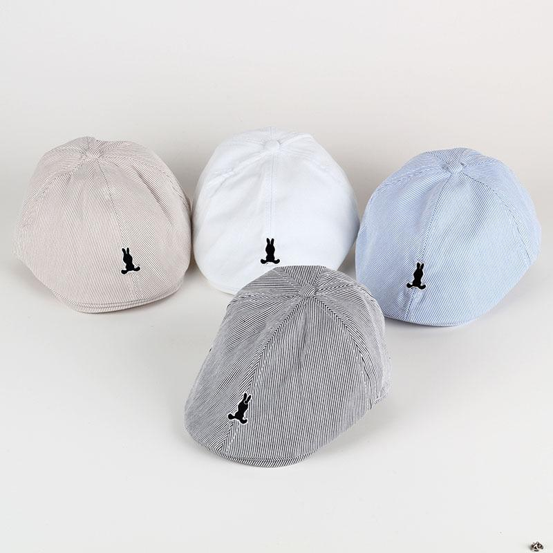 New Spring Summer Autumn Solid Color Stripe Embroidery Children Beret Painter's Hat Baby Hat Simple Baby Beret Boy Girl