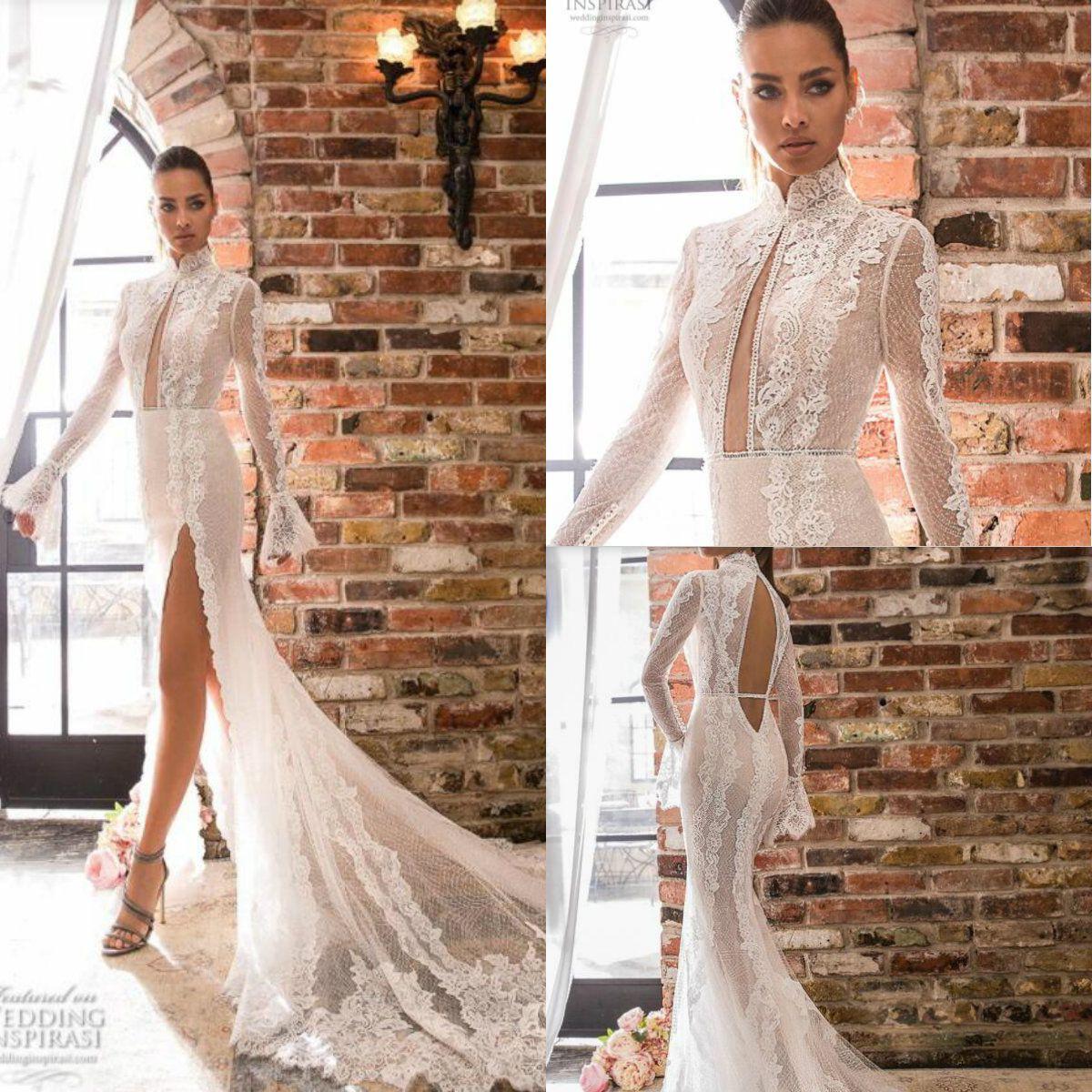 Elihav Sasson Sirena Vestidos de novia Hallow Back Apliques Apliques de cuello alto Boho Boho Vestido de novia Split Split Split Blinds Bods Bods